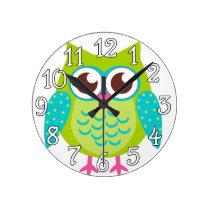 Green Owls Gift Round Clocks