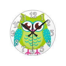 Green Owls Gift Wallclock