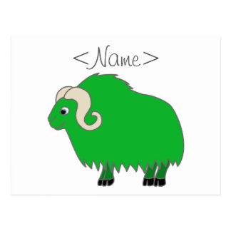 Green Ox with Curled Horns Postcard