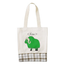 Green Ox with Curled Horns Zazzle HEART Tote Bag