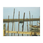 Green Oyster Boat Wrapped Canvas Print