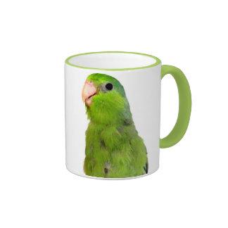 Green Pacific Parrotlet Bird 11 oz ringer cup mug
