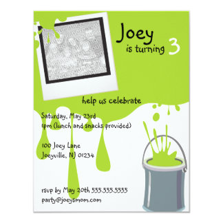 """Green Paint Can Kids Birthday Party Invitations 4.25"""" X 5.5"""" Invitation Card"""
