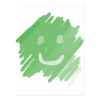 green paint smiley face postcard