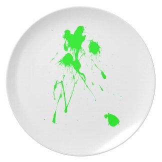 Green paint splatter dinner plate