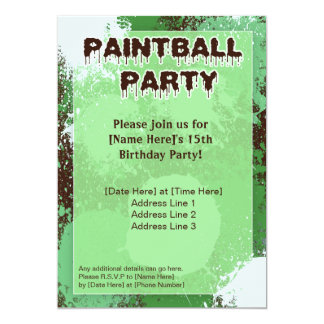 Green Paintball Party Invite