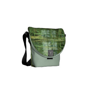 Green Painted Fractal Courier Bag