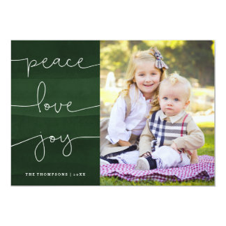 Green Painted Peace Love Joy Photo Holiday Card