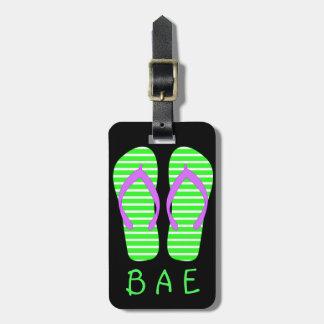 Green Pair Flip Flops Luggage Tag