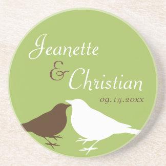 Green pair love birds custom wedding anniversary coaster