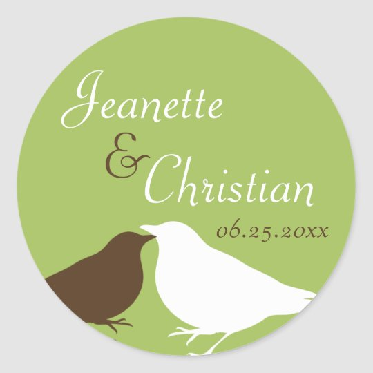 Green pair love birds wedding favor seal label