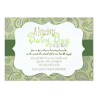 Green Paisley Baby Boy Shower Invitation