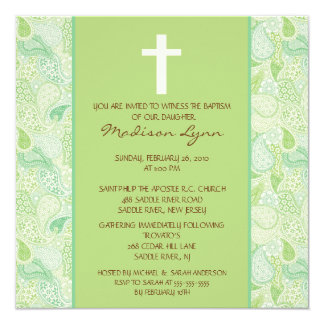 Green PAISLEY Baby Girl Baptism Inviation Announcement