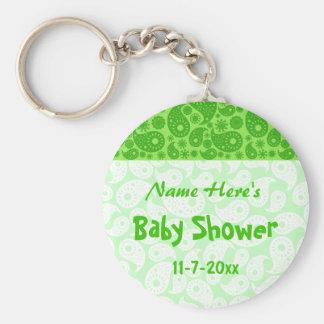 Green Paisley Baby Shower Key Chain