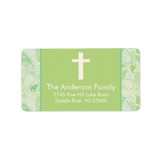 Green Paisley Cross Religious address Label