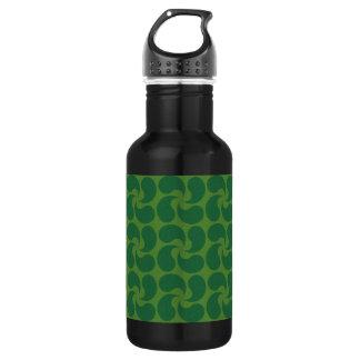 Green Paisley Design Water Bottle