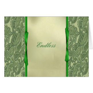 "Green Paisley ""Endless"" Note Card"