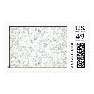 Green Paisley Flower and Bird Doodles Postage Stamp