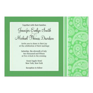 "Green Paisley 5"" X 7"" Invitation Card"