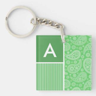 Green Paisley Acrylic Key Chain