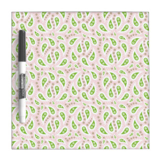 Green Paisley on Pale Pink Dry Erase Board