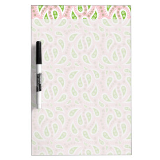 Green Paisley on Pale Pink Dry-Erase Board