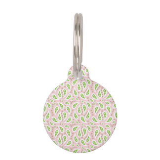 Green Paisley on Pale Pink Pet Name Tag