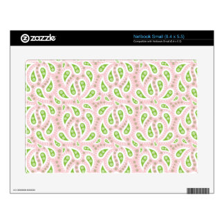 Green Paisley on Pale Pink Decals For Netbooks