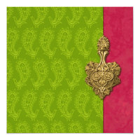 Green Paisley Peacock Indian Wedding Invitation