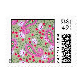 green paisley postage stamp
