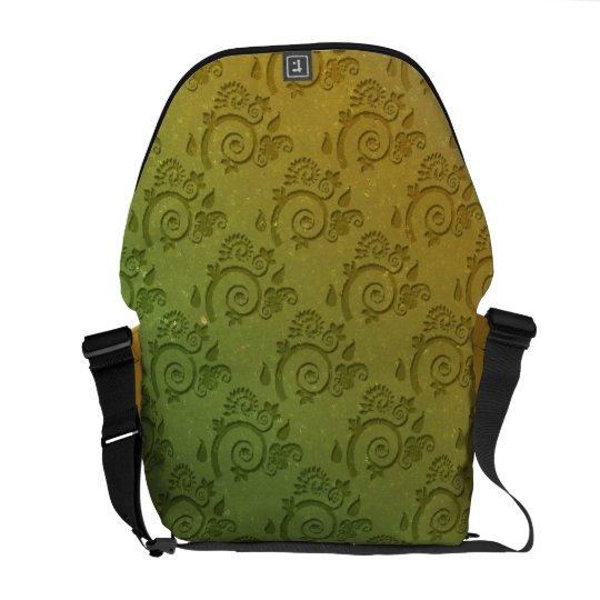 Green Paisley Swirls Messenger Bag
