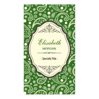 Green Paisley Tribal Vintage Abstract Pattern Double-Sided Standard Business Cards (Pack Of 100)