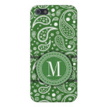 Green Paisley Tribal Vintage Pattern - Monogram iPhone 5/5S Covers
