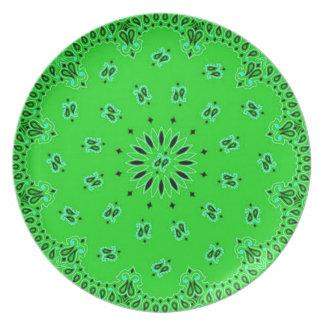Green Paisley Western Bandana Scarf Fabric Print Plate