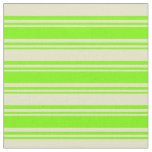 [ Thumbnail: Green & Pale Goldenrod Colored Pattern of Stripes Fabric ]