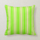 [ Thumbnail: Green & Pale Goldenrod Colored Pattern of Stripes Throw Pillow ]