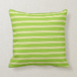 [ Thumbnail: Green & Pale Goldenrod Colored Stripes Pillow ]