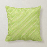 [ Thumbnail: Green & Pale Goldenrod Lined Pattern Throw Pillow ]