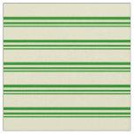 [ Thumbnail: Green & Pale Goldenrod Pattern Fabric ]