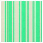 [ Thumbnail: Green & Pale Goldenrod Stripes Fabric ]