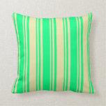 [ Thumbnail: Green & Pale Goldenrod Stripes Throw Pillow ]