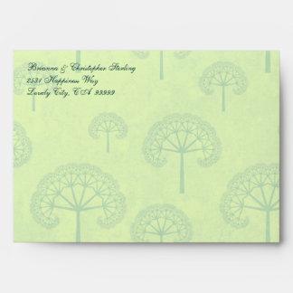 Green & Pale Lime Tree Invitation Envelopes