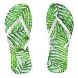 Green Palm Frond Flip Flops