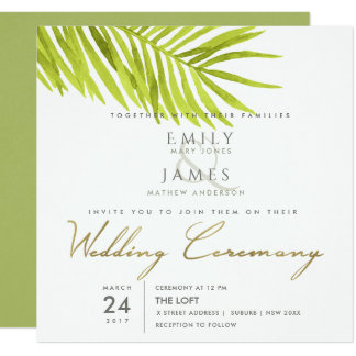 GREEN PALM LEAF WATERCOLOUR FOLIAGE WEDDING CARD