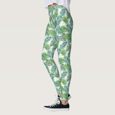 Green Palm Leaves Leggings