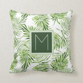 Green Palm Leaves | Monogram Throw Pillow