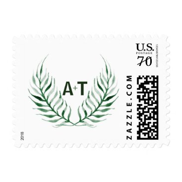 Beach Themed Green Palm Leaves Monogram Wedding Postage Stamp