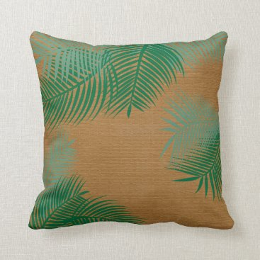 Beach Themed Green Palm Leaves on Faux Burlap Throw Pillow