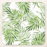 """Green Palm Leaves Square Paper Coaster<br><div class=""""desc"""">Plants &amp; Flowers 