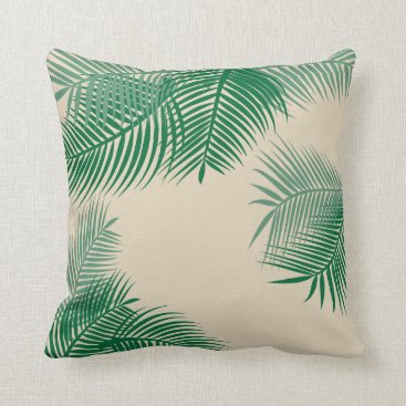 Beach Themed Green Palm Leaves Throw Pillow